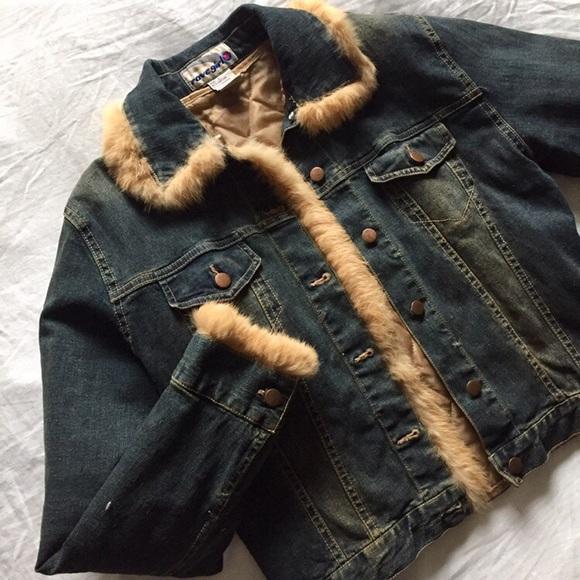 women girls retro 60/'s look distressed denim jacket removable fur lining S//M//L